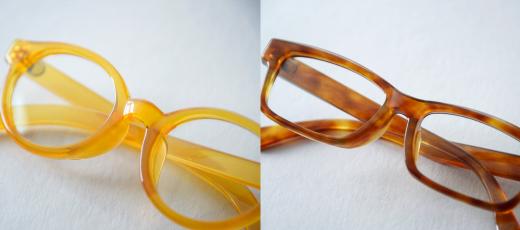 (左)オリジナルブランド「大澤鼈甲」ボストン型白甲。(右)「大澤鼈甲」ウエリントン型、明るい色はお肌映りも良く、美しい。