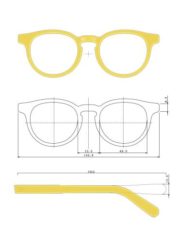 お顔立ちを考慮に入れて、図面を作製。必要であればセルシートを作って確認する。オーダーメイド、セミ・オーダーメイドも工房直結だからこそ。