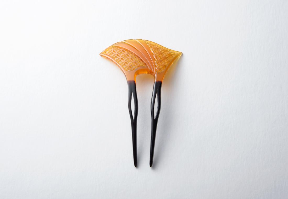 白甲銀杏型かんざし 二本足